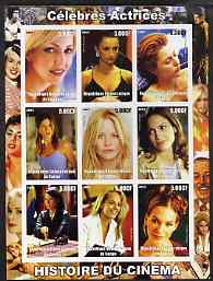 Congo 2003 History of the Cinema #06 (Actresses) imperf sheetlet containing 9 values unmounted mint (Showing Heather Locklear, Penelope Cruz, Gillian Anderson, Jennifer A...
