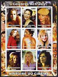 Congo 2003 History of the Cinema #07 (Actresses) imperf sheetlet containing 9 values unmounted mint (Showing Christina Applegate, Angelina Jolie, Nicole Kidman, Heather Graham, Halle Berry, Drew Barrymore, Mena Suvari, Gwyneth Paltrow & Elizabeth Hurley)