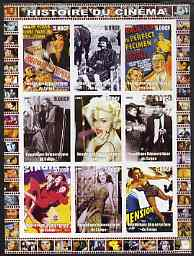 Congo 2003 History of the Cinema #10 imperf sheetlet containing 9 values unmounted mint (Showing Film Posters plus Madonna, etc)