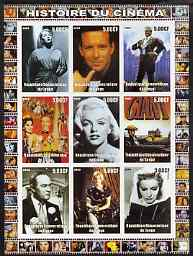 Congo 2003 History of the Cinema #16 imperf sheetlet containing 9 values unmounted mint (Showing James Dean, Bob Hope, Marilyn, etc)