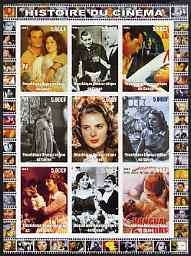 Congo 2003 History of the Cinema #17 imperf sheetlet containing 9 values unmounted mint (Showing Clark Gable, Ingrid Bergman, Groucho Marx, etc)