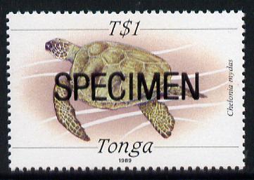 Tonga 1988 Marine Life (Turtle) T$1 value opt'd SPECIMEN, as SG 1013 unmounted mint*