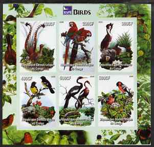 Congo 2005 Audubon Birds imperf sheetlet (with RSPB logo) containing 6 values unmounted mint