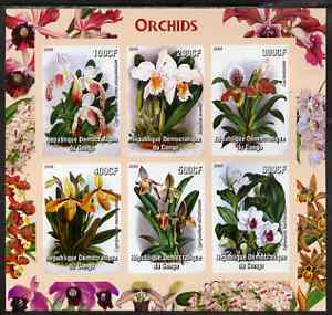 Congo 2005 Orchids imperf sheetlet containing 6 values unmounted mint