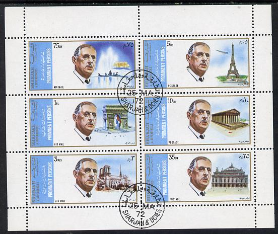Sharjah 1972 Famous Persons (Charles de Gaulle with Famous Buildings, Concorde, etc) set of 6 cto used, Mi 875-80