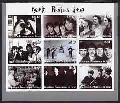 Congo 2003 The Beatles (B&W) imperf sheetlet containing 9 values, unmounted mint