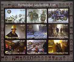 Congo 2003 Fire Engines of New York - Remembering September 11th imperf sheetlet containing 9 values each with Rotary Logo, unmounted mint