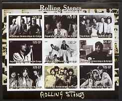 Congo 2003 Rolling Stones imperf sheetlet containing 9 values, unmounted mint