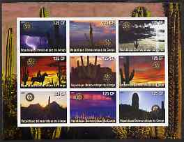 Congo 2003 Cacti imperf sheetlet containing 9 values each with Rotary Logo, unmounted mint