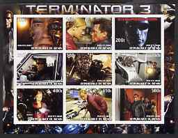 Benin 2003 Terminator 3 imperf sheetlet containing 9 values unmounted mint