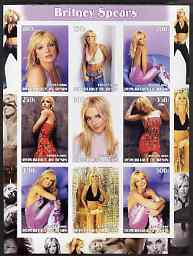 Benin 2003 Britney Spears imperf sheetlet containing 9 values unmounted mint