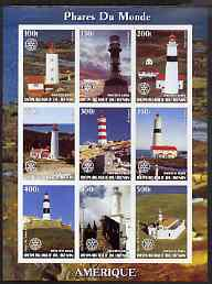 Benin 2003 Lighthouses of America imperf sheetlet containing 9 values each with Rotary Logo unmounted mint