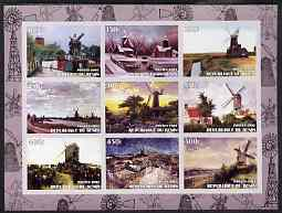Benin 2003 Paintings of Windmills #02 imperf sheetlet containing 9 values unmounted mint