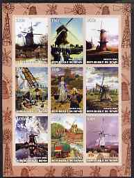 Benin 2003 Paintings of Windmills #03 imperf sheetlet containing 9 values unmounted mint