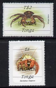 Tonga 1984 Marine Life (Crabs) self-adhesive 6s & T$2 opt'd SPECIMEN, as SG 869 & 879 unmounted mint*