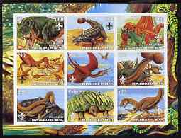 Benin 2003 Dinosaurs #06 imperf sheetlet containing 9 values each with Scout Logo unmounted mint