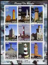 Benin 2003 Lighthouses of Europe imperf sheetlet containing 9 values each with Rotary Logo unmounted mint