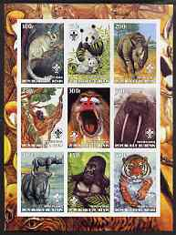 Benin 2003 Wild Animals imperf sheetlet containing 9 values each with Scout Logo unmounted mint