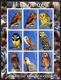 Somalia 2003 Owls imperf sheetlet containing 9 values unmounted mint