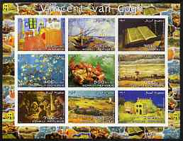 Somalia 2003 Paintings by Vincent Van Gogh #2 imperf sheetlet containing 9 values unmounted mint (horizontal format)