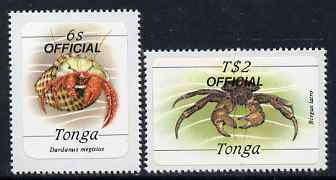 Tonga 1984 Marine Life (Crabs) self-adhesive 6s & T$2 opt'd OFFICIAL, as SG O224 & O234*