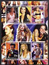 Kyrgyzstan 2003 Pop Stars #1 imperf sheetlet containing 6 values unmounted mint (Justine Timberlake, Shania Twain, Britney Spears, Robbie Williams, Beyonce & Enrique Iglessias), stamps on personalities, stamps on entertainments, stamps on music, stamps on pops
