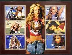 Somalia 2003 Pop Stars #1 imperf sheetlet containing 6 values unmounted mint (Alicia Keys, Kylie, Shakira, Beyonce, Madonna & Aaliyah)