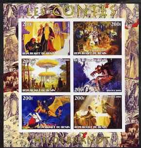 Benin 2003 Fairy Tales - paintings by Hildebrandt imperf sheetlet containing 6 values unmounted mint