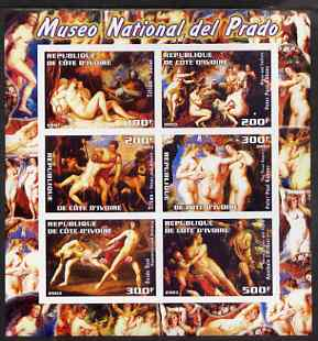 Ivory Coast 2003 Nude Paintings from the Prado National Museum imperf sheetlet containing 6 values unmounted mint (showing works by Titian x 2, Rubens x 2, Reni & Carracci), stamps on arts, stamps on nudes, stamps on titian, stamps on rubens, stamps on renaissance