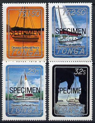 Tonga 1983 Christmas (Yachting) self-adhesive set of 4 opt'd SPECIMEN (Map used as backing paper), as SG 857-60*