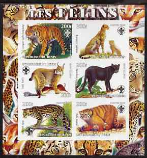 Benin 2003 Wild Cats imperf sheetlet containing 6 values each with Scouts Logo, unmounted mint