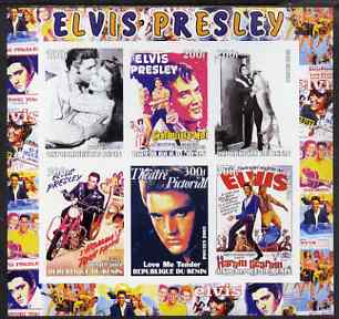 Benin 2003 Elvis Presley Film Posters imperf sheetlet containing 6 values unmounted mint