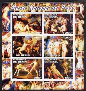 Benin 2003 Nude Paintings from the Prado National Museum imperf sheetlet containing 6 values unmounted mint (showing works by Titian x 2, Rubens x 2, Reni & Carracci)