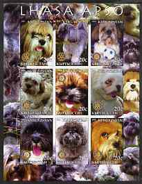 Kyrgyzstan 2004 Dogs - Lhasa Apso imperf sheetlet containing 9 values each with Rotary logo unmounted mint