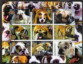 Kyrgyzstan 2004 Dogs - English Bulldog imperf sheetlet containing 9 values each with Rotary logo unmounted mint