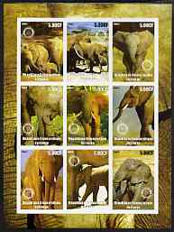 Congo 2003 Elephants imperf sheetlet containing 9 values each with Rotary Logo unmounted mint