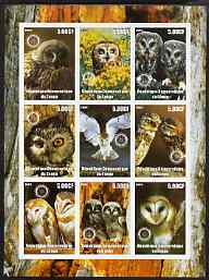 Congo 2003 Owls imperf sheetlet containing 9 values each with Rotary Logo unmounted mint