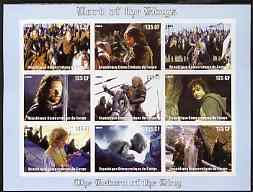 Congo 2003 Lord of the Rings - The Return of the King imperf sheetlet containing 9 x 135 CF values unmounted mint