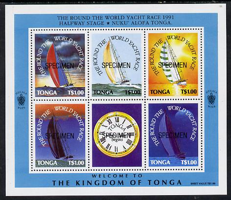 Tonga 1991 Round the World Yacht Race m/sheet (5 vals plus label showing clock face) opt