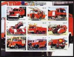 Congo 2004 Fire Engines #2 imperf sheetlet containing 9 x 125CF values, unmounted mint