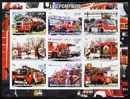 Congo 2004 Fire Engines #3 imperf sheetlet containing 9 x 130CF values, unmounted mint