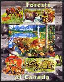 Kyrgyzstan 2004 Fauna of the World - Forests of Canada imperf sheetlet containing 6 values unmounted mint