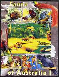 Kyrgyzstan 2004 Fauna of the World - Australia #1 imperf sheetlet containing 6 values unmounted mint