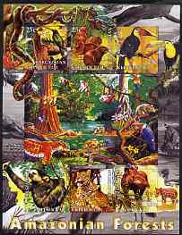 Kyrgyzstan 2004 Fauna of the World - Amazonian Forests imperf sheetlet containing 6 values unmounted mint