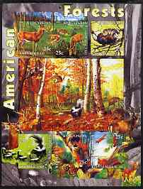 Kyrgyzstan 2004 Fauna of the World - American Forests imperf sheetlet containing 6 values unmounted mint