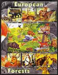 Kyrgyzstan 2004 Fauna of the World - European Forests imperf sheetlet containing 6 values unmounted mint