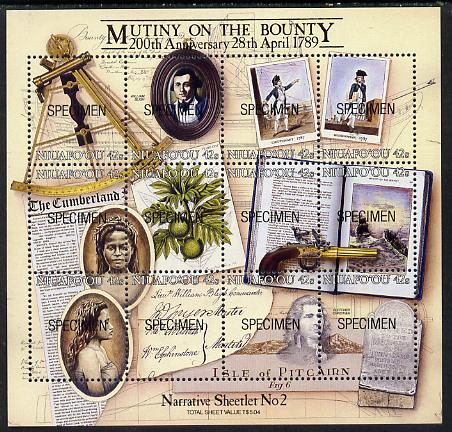 Tonga - Niuafo'ou 1989 Bicentenary of Mutany on Bounty m/sheet opt'd SPECIMEN (Bligh, Breadfruit, Sextant, Pistol) unmounted mint as SG MS 112