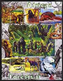Kyrgyzstan 2004 Fauna of the World - African Forests #2 imperf sheetlet containing 6 values unmounted mint