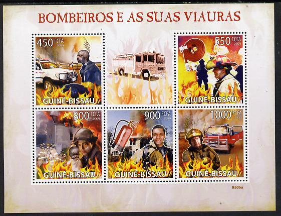 Guinea - Bissau 2009 Fire Fighters perf sheetlet containing 5 values unmounted mint