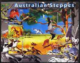 Kyrgyzstan 2004 Fauna of the World - Australian Steppes imperf sheetlet containing 6 values unmounted mint